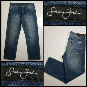 Sean John Men Denim Blue Straight Jeans Size 36
